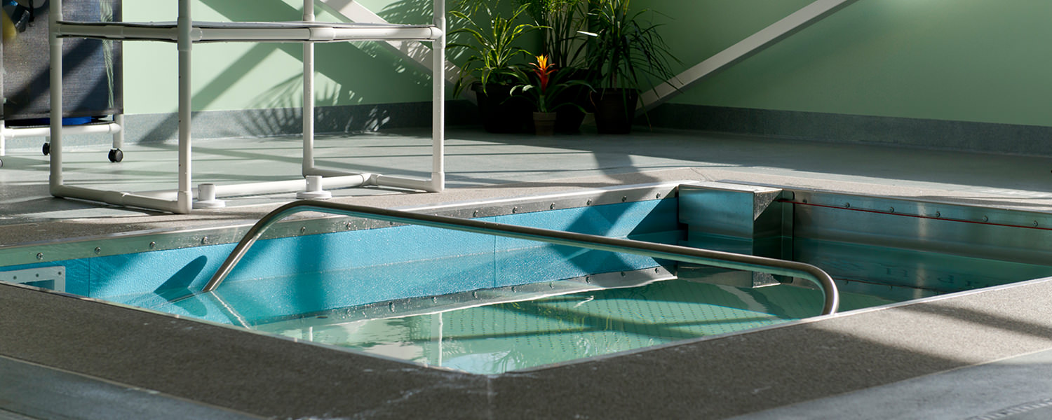Sunlit view of therapy pool