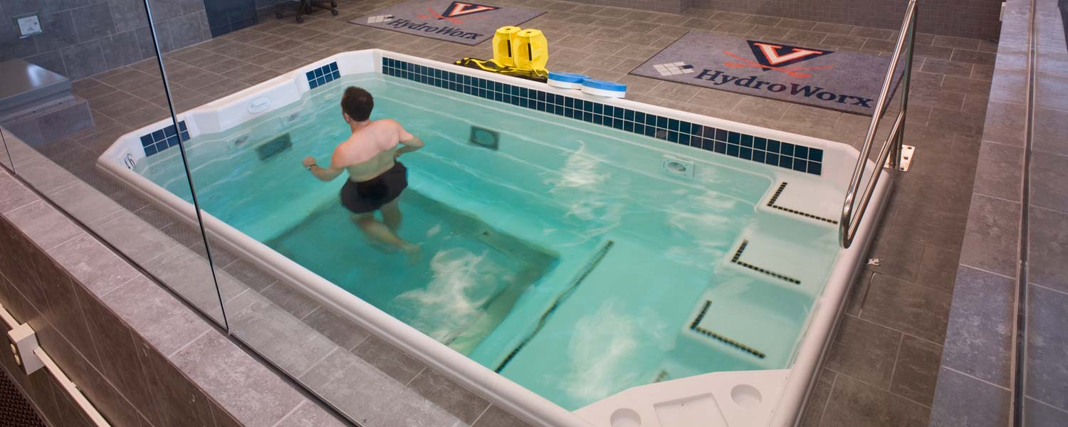 Person jogging in water at HydroWorx at UVA