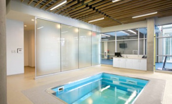 Well lit HydroWorx pool indoors
