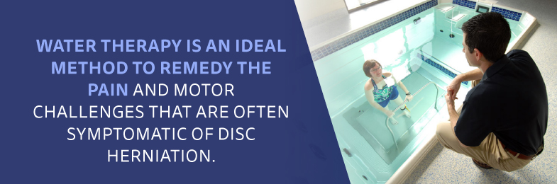 Aquatic therapy is an ideal method to remedy the pain and motor challenges of disc herniation